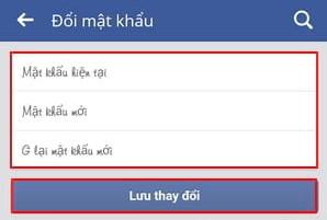 doi mat khau facebook tren dien thoai samsung
