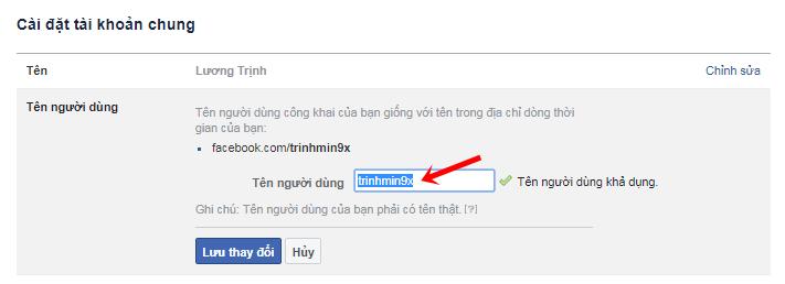 doi id facebook tren dien thoai
