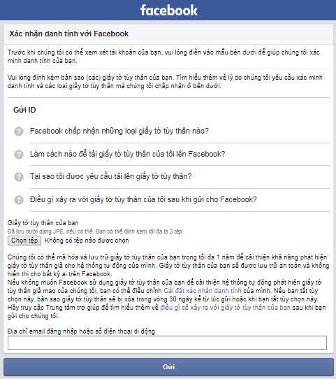 lay lai facebook bi khoa xac minh danh tinh