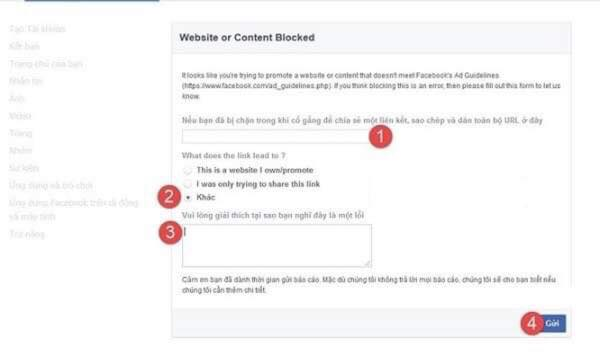mở khoá website khi bị facebook chặn domain 1