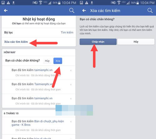 Cach xoa lich su tim kiem tren facebook